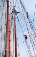 Une partie du haubanage du Pride of Baltimore II